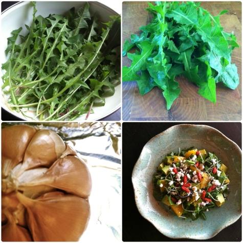 dandelion salad collage